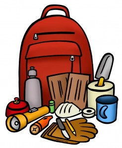 Clipart of a red backpack and emergency items
