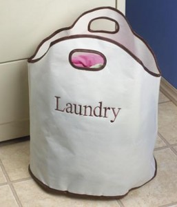 Laundry bag placed in laundry room for quick cramming if needed for evacuation