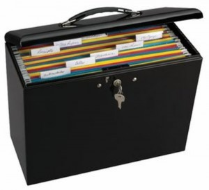 Metal Lockable file box for important personal finacial info and records