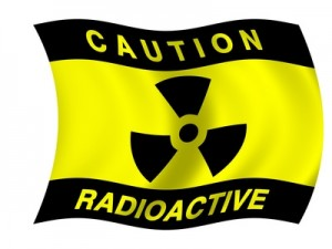 Black and Yellow flag with text caution radioactive