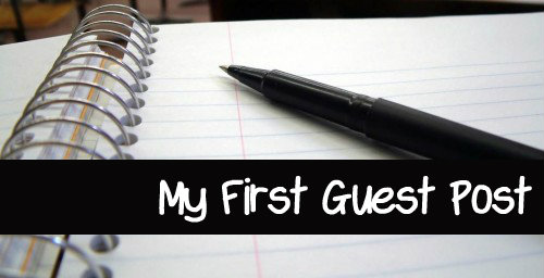 Lined paper with pen and title My First Guest Post