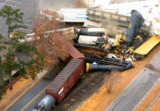 Fatal train derailment involving chorine tank cars at Graniteville, South Carolina 1-6-2005